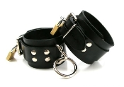 BONDAGE GEAR STRICT LEATHER LOCKING RUBBER ANKLE CUFFS
