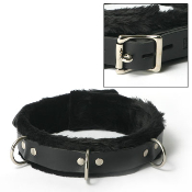 BONDAGE GEAR STRICT LEATHER NARROW FUR LINED LOCKING COLLAR