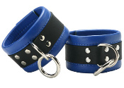 BONDAGE GEAR BLUE LEATHER CUFFS