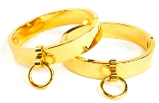 POLISHED GOLD LOCKING OVAL WRIST/ANKLE CUFFS