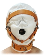 BONDAGE GEAR SENSORY DEPRIVATION WHITE LEATHER HOOD