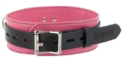 BONDAGE GEAR LEATHER DELUXE BLACK AND PINK LOCKING COLLAR