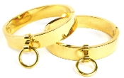 POLISHED GOLD LOCKING OVAL WRIST AND ANKLE CUFFS