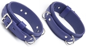 PREMIUM GARMENT LEATHER LOCKING THIGH RESTRAINTS PURPLE BONDAGE GEAR