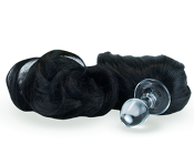 BLACK DETACHABLE PONY TAIL BUTT PLUG