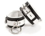 EXTREME PREMIUM LEATHER BONDAGE WRIST CUFFS BLACK AND WHITE