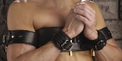 BONDAGE GEAR LEATHER ARMS TO CHEST RESTRAINT BELT