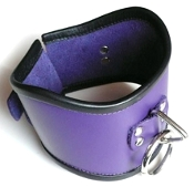 TALL LOCKING PURPLE LEATHER POSTURE COLLAR BONDAGE GEAR