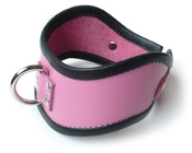 SHORT LOCKING PINK LEATHER POSTURE COLLAR