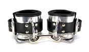 BONDAGE GEAR METAL BAND LINED LEATHER ANKLE BONDAGE CUFFS