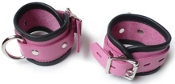 LOCKING PINK LEATHER BONDAGE WRIST CUFFS BONDAGE TOYS
