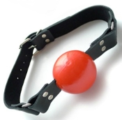 RED RUBBER BALL GAG BONDAGE GEAR