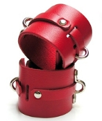 BONDAGE BASICS RED LEATHER ANKLE CUFFS BONDAGE TOYS