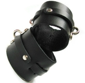 BONDAGE BASICS BLACK LEATHER WRIST CUFFS BONDAGE TOYS
