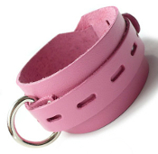 DELUXE PINK LEATHER LOCKING BUCKLE COLLAR