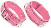 PREMIUM GARMENT LEATHER LOCKING THIGH RESTRAINTS PINK BONDAGE GEAR