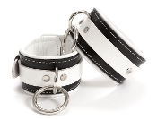 EXTREME PREMIUM LEATHER BONDAGE ANKLE CUFFS BLACK AND WHITE
